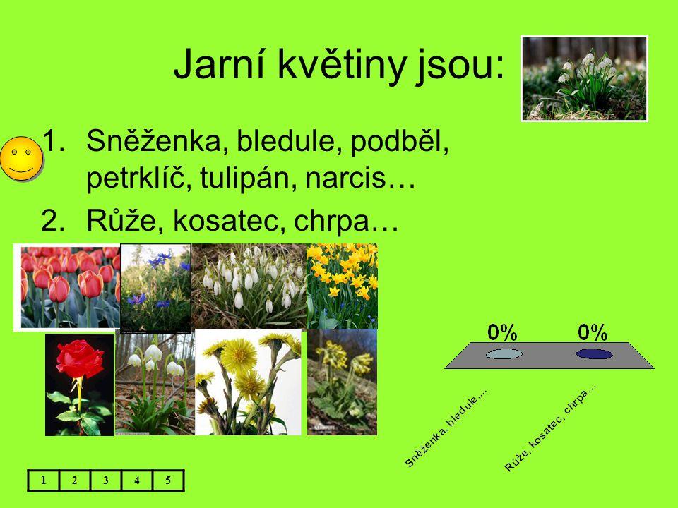 Jarní květiny jsou: 12345 1.Sněženka, bledule, podběl, petrklíč, tulipán, narcis… 2.Růže, kosatec, chrpa…