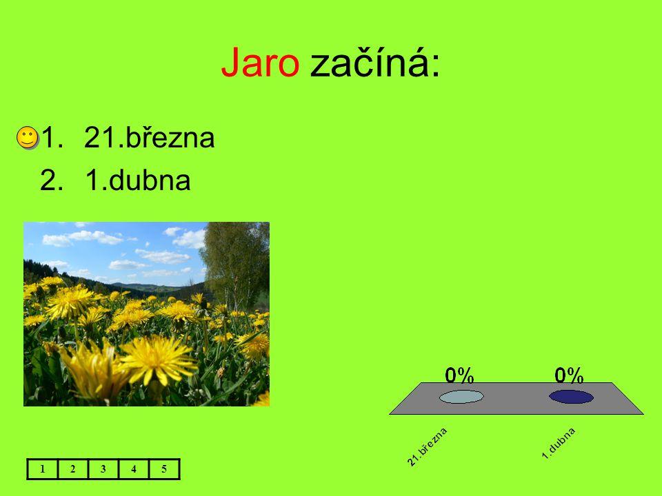 Jaro začíná: 1.21.března 2.1.dubna 12345