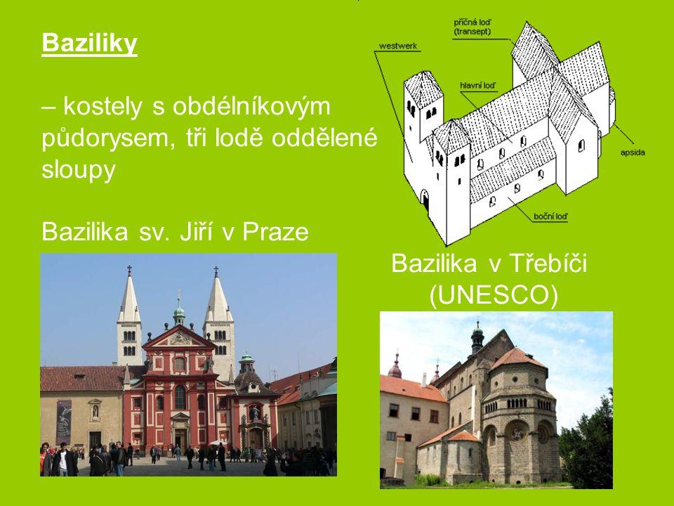 Baziliky – kostely s obdélníkovým půdorysem, tři lodě oddělené sloupy Bazilika sv. Jiří v Praze Bazilika v Třebíči (UNESCO)