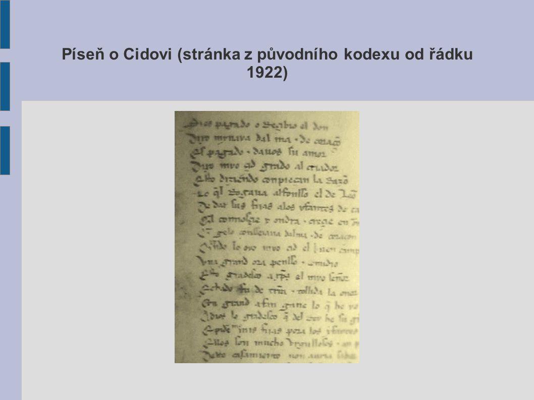 Píseň o Cidovi (stránka z původního kodexu od řádku 1922)
