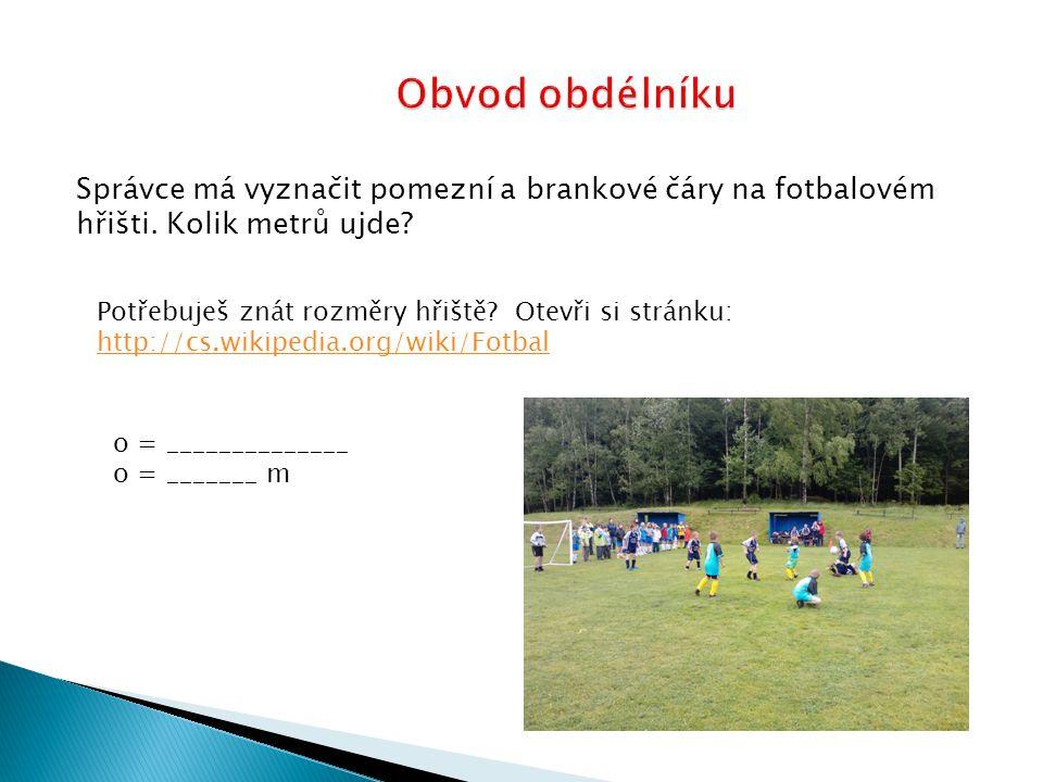Správce má vyznačit pomezní a brankové čáry na fotbalovém hřišti.