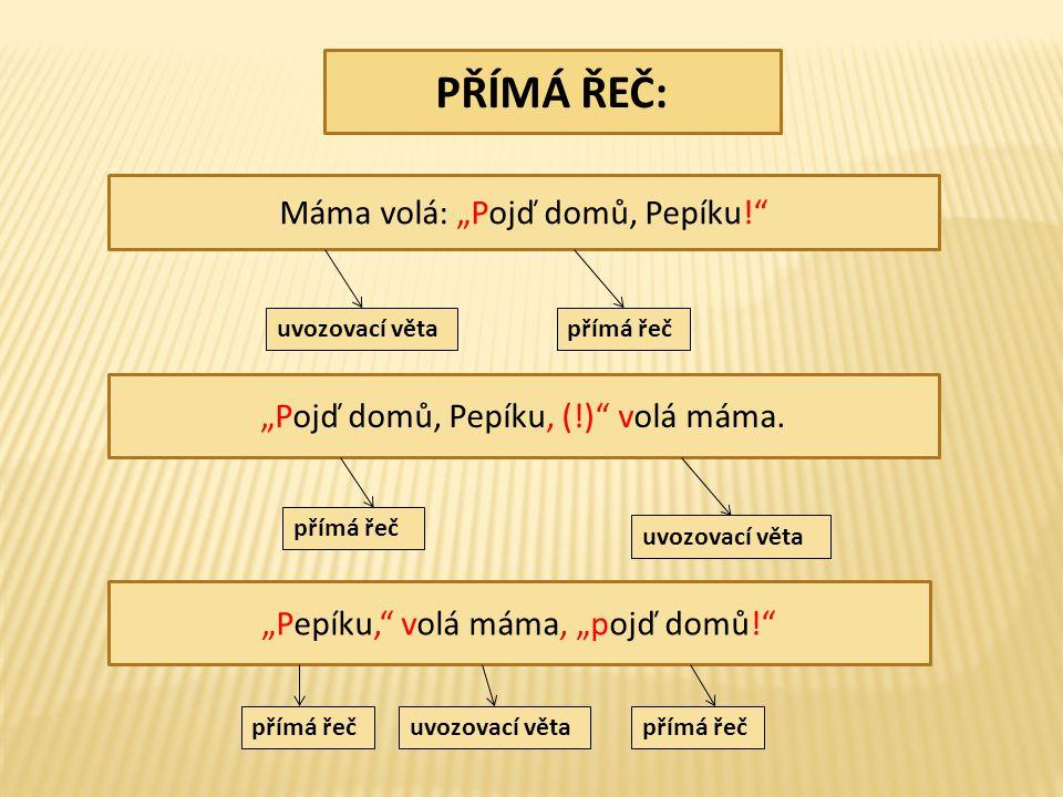 """PŘÍMÁ ŘEČ: Máma volá: """"Pojď domů, Pepíku! """"Pojď domů, Pepíku, (!) volá máma."""