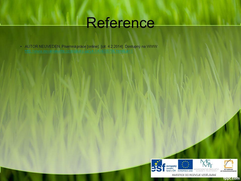 Reference AUTOR NEUVEDEN. Písemná práce [online].