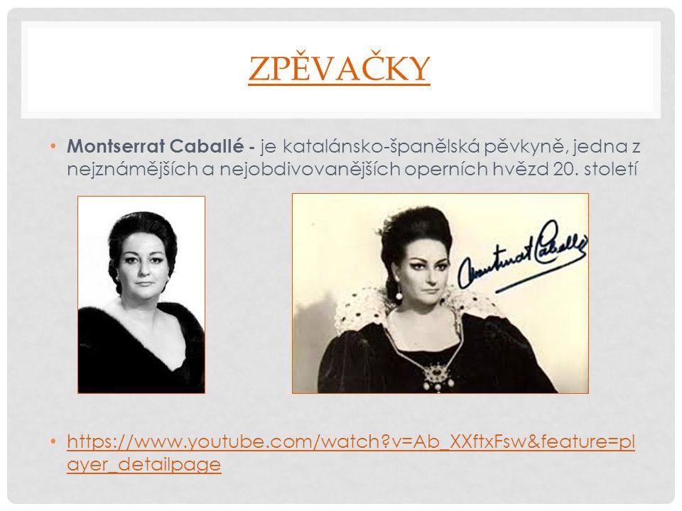 ZPĚVAČKY Montserrat Caballé - je katalánsko-španělská pěvkyně, jedna z nejznámějších a nejobdivovanějších operních hvězd 20. století https://www.youtu