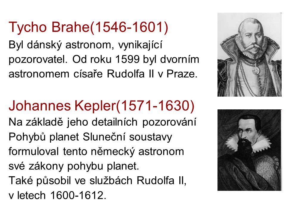Tycho Brahe(1546-1601) Byl dánský astronom, vynikající pozorovatel. Od roku 1599 byl dvorním astronomem císaře Rudolfa II v Praze. Johannes Kepler(157