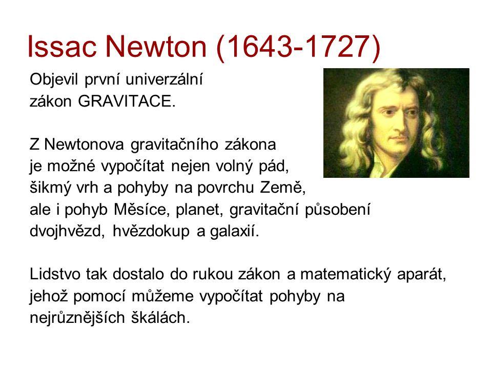 Issac Newton (1643-1727) Objevil první univerzální zákon GRAVITACE. Z Newtonova gravitačního zákona je možné vypočítat nejen volný pád, šikmý vrh a po