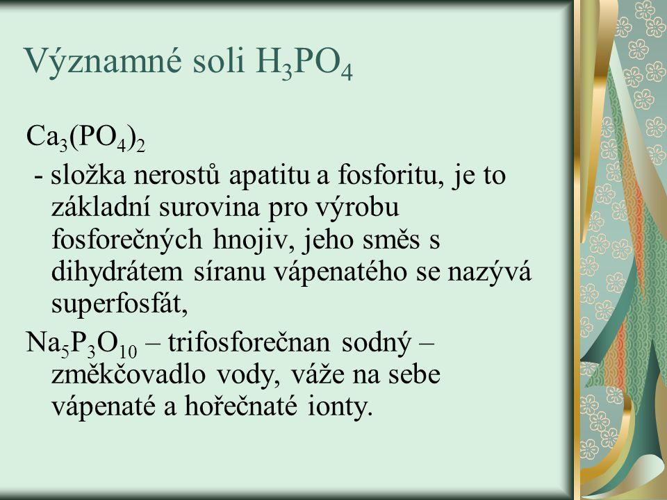 Významné soli H 3 PO 4 Ca 3 (PO 4 ) 2 - složka nerostů apatitu a fosforitu, je to základní surovina pro výrobu fosforečných hnojiv, jeho směs s dihydr