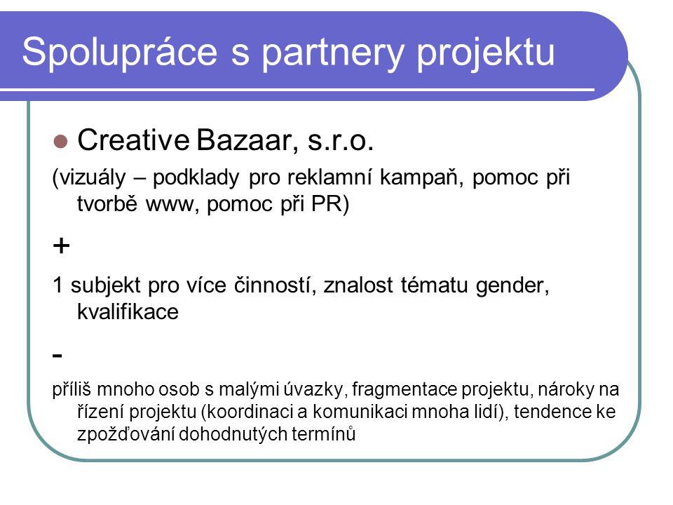 Spolupráce s partnery projektu Creative Bazaar, s.r.o.