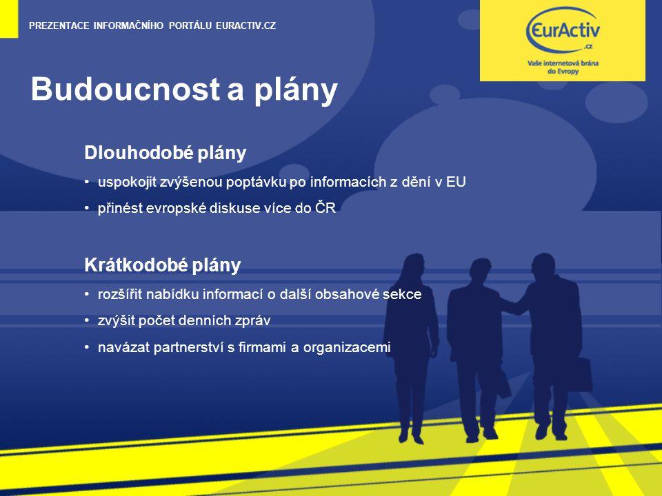 PREZENTACE INFORMAČNÍHO PORTÁLU EURACTIV.CZ Budoucnost a plány Dlouhodobé plány uspokojit zvýšenou poptávku po informacích z dění v EU přinést evropské diskuse více do ČR Krátkodobé plány rozšířit nabídku informací o další obsahové sekce zvýšit počet denních zpráv navázat partnerství s firmami a organizacemi