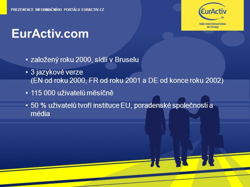 PREZENTACE INFORMAČNÍHO PORTÁLU EURACTIV.CZ EurActiv.com založený roku 2000, sídlí v Bruselu 3 jazykové verze (EN od roku 2000, FR od roku 2001 a DE od konce roku 2002) 115 000 uživatelů měsíčně 50 % uživatelů tvoří instituce EU, poradenské společnosti a média