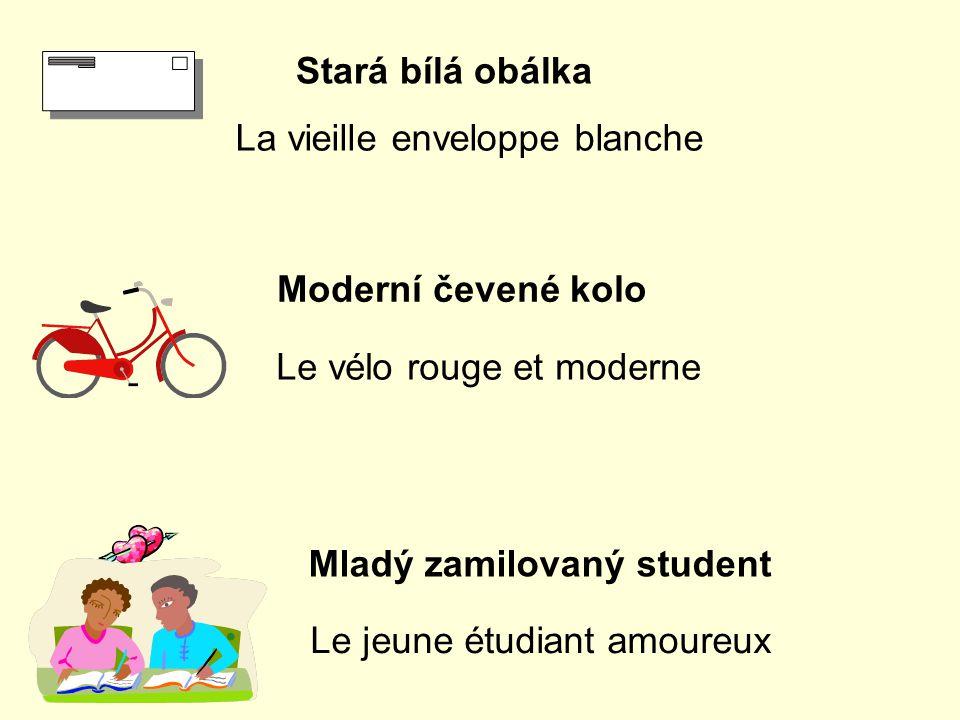 Stará bílá obálka La vieille enveloppe blanche Moderní čevené kolo Le vélo rouge et moderne Le jeune étudiant amoureux Mladý zamilovaný student