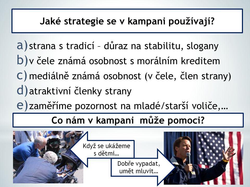 a) strana s tradicí – důraz na stabilitu, slogany b) v čele známá osobnost s morálním kreditem c) mediálně známá osobnost (v čele, člen strany) d) atr