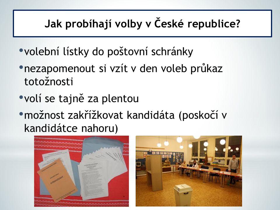 volební lístky do poštovní schránky nezapomenout si vzít v den voleb průkaz totožnosti volí se tajně za plentou možnost zakřížkovat kandidáta (poskočí