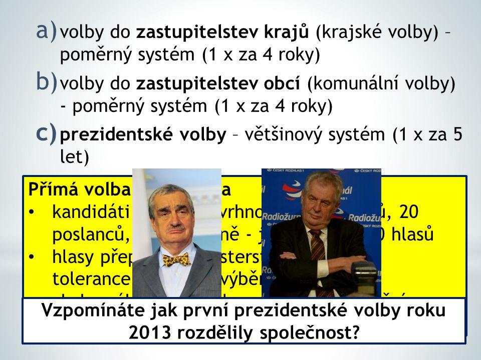 a) volby do zastupitelstev krajů (krajské volby) – poměrný systém (1 x za 4 roky) b) volby do zastupitelstev obcí (komunální volby) - poměrný systém (