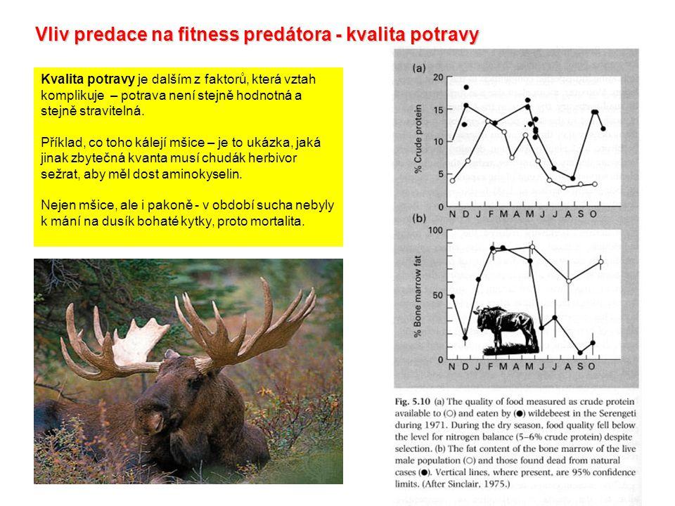 Vliv predace na fitness predátora - kvalita potravy Kvalita potravy je dalším z faktorů, která vztah komplikuje – potrava není stejně hodnotná a stejně stravitelná.