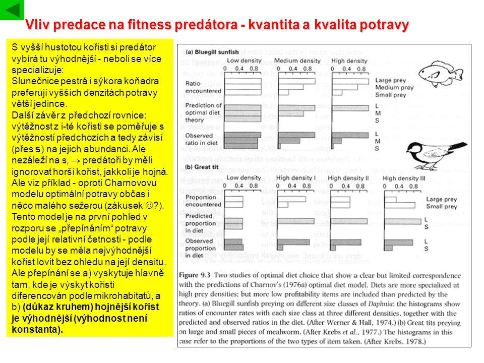 Vliv predace na fitness predátora - kvantita a kvalita potravy S vyšší hustotou kořisti si predátor vybírá tu výhodnější - neboli se více specializuje