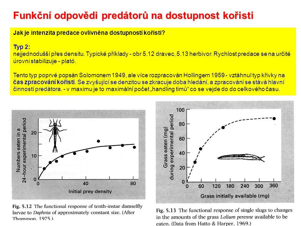 Jak je intenzita predace ovlivněna dostupností kořisti? Typ 2: nejjednodušší přes densitu. Typické příklady - obr 5.12 dravec, 5.13 herbivor. Rychlost