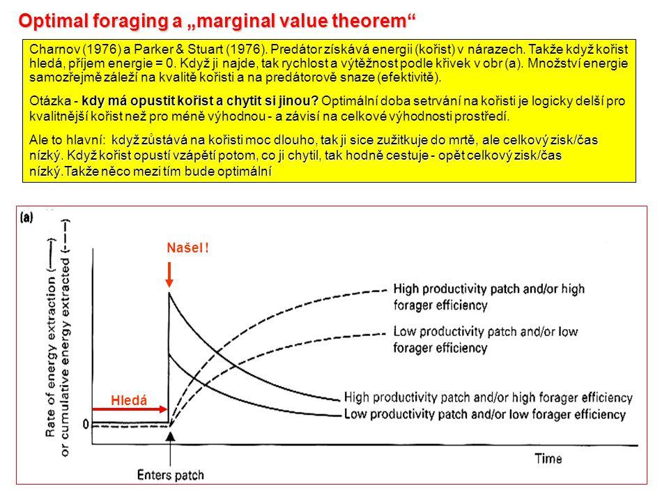 """Optimal foraging a """"marginal value theorem Charnov (1976) a Parker & Stuart (1976)."""