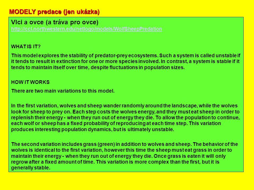 MODELY predace (jen ukázka) Vlci a ovce (a tráva pro ovce) http://ccl.northwestern.edu/netlogo/models/WolfSheepPredation http://ccl.northwestern.edu/netlogo/models/WolfSheepPredation WHAT IS IT.
