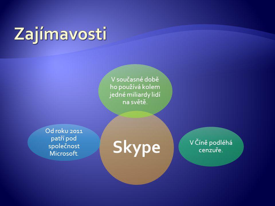 Skype V současné době ho používá kolem jedné miliardy lidí na světě.