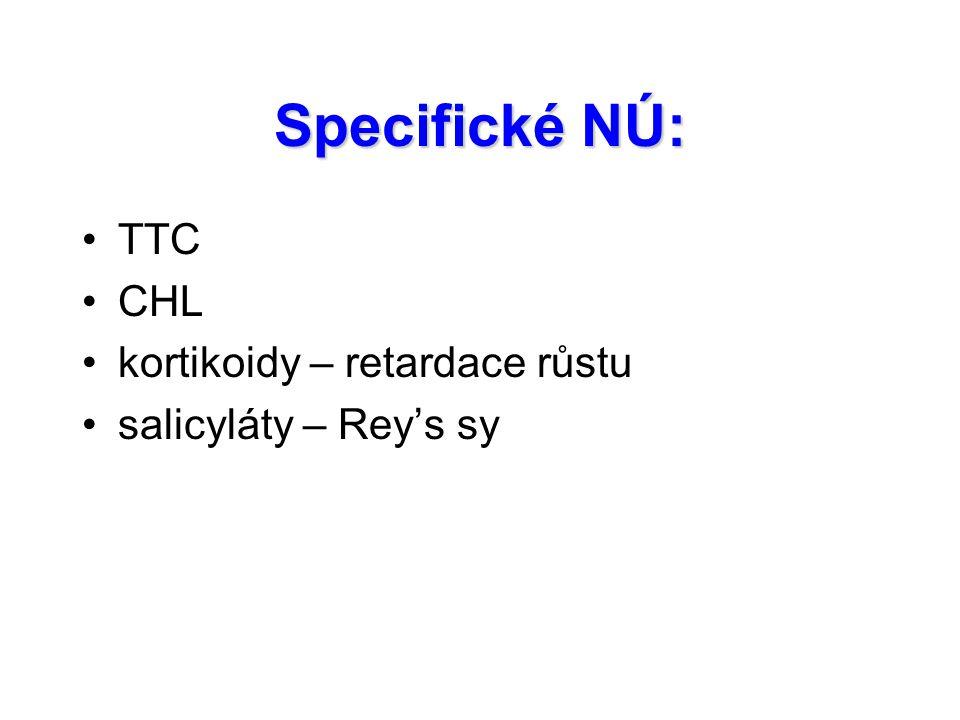 Specifické NÚ: TTC CHL kortikoidy – retardace růstu salicyláty – Rey's sy