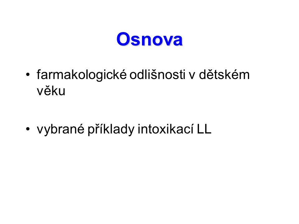 Osnova farmakologické odlišnosti v dětském věku vybrané příklady intoxikací LL