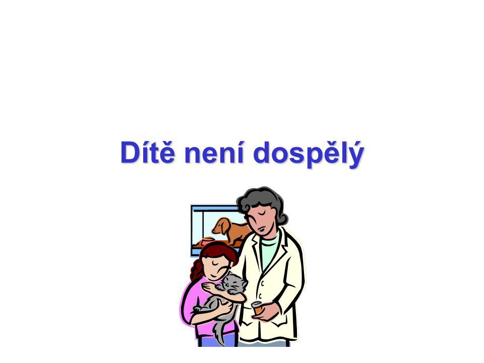odlišnosti v léčbě ve smyslu dávkování dle hmotnosti či dle povrchu těla dávka / dávkovací interval odlišný s ohledem na FK či FD odlišnosti mnoho léčiv nebylo adekvátně testováno u dětí NÚ: odlišnosti s ohledem na FK i FD + specifika (např.