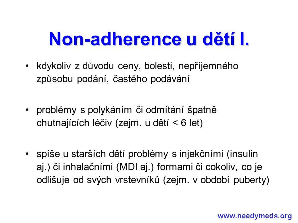 Non-adherence u dětí I. kdykoliv z důvodu ceny, bolesti, nepříjemného způsobu podání, častého podávání problémy s polykáním či odmítání špatně chutnaj