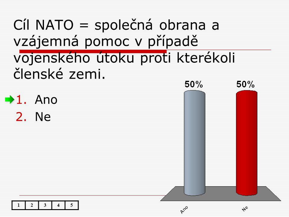 Cíl NATO = společná obrana a vzájemná pomoc v případě vojenského útoku proti kterékoli členské zemi.