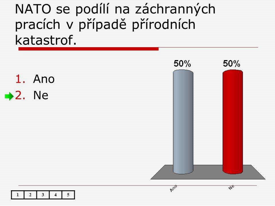 NATO se podílí na záchranných pracích v případě přírodních katastrof. 1.Ano 2.Ne 12345