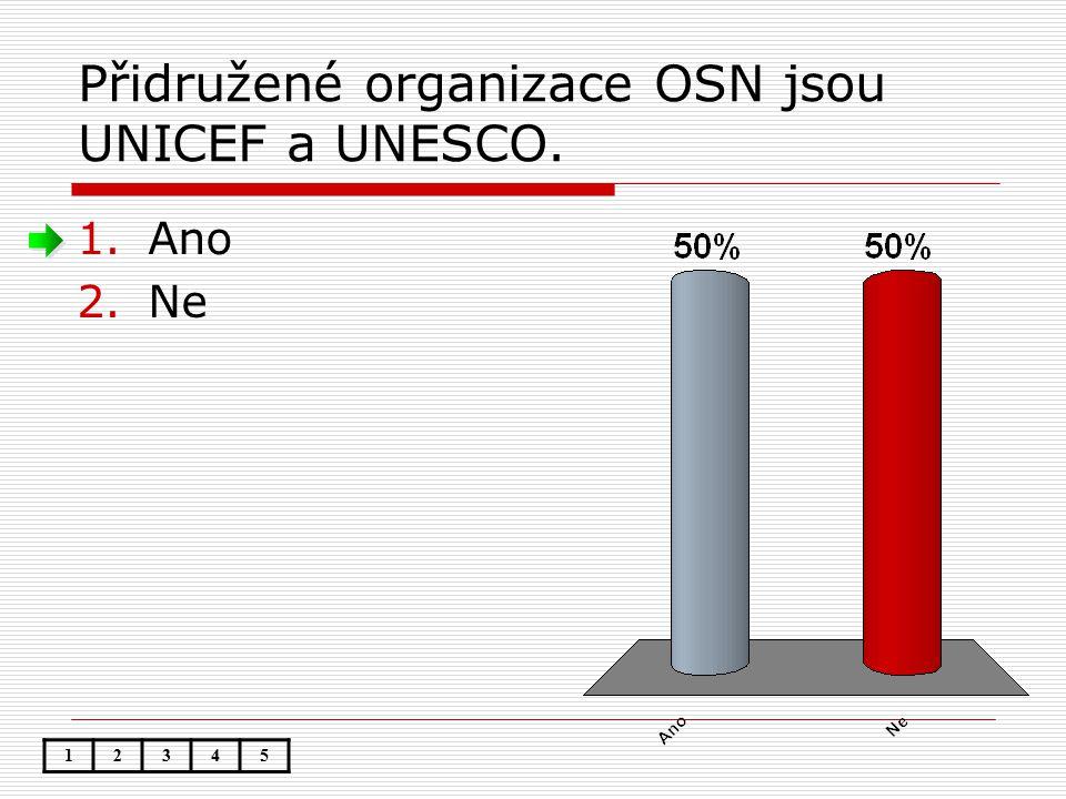 Přidružené organizace OSN jsou UNICEF a UNESCO. 1.Ano 2.Ne 12345