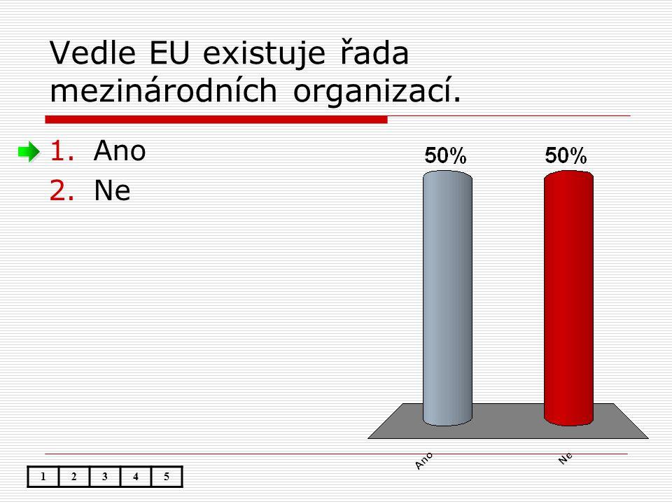Vedle EU existuje řada mezinárodních organizací. 1.Ano 2.Ne 12345