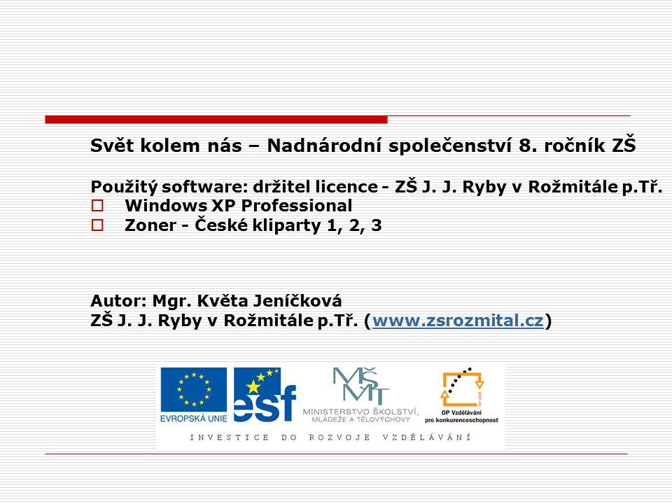 Svět kolem nás – Nadnárodní společenství 8.ročník ZŠ Použitý software: držitel licence - ZŠ J.