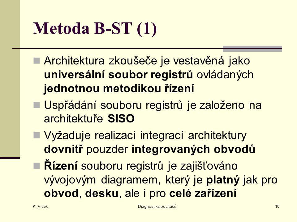 K. Vlček: Diagnostika počítačů10 Metoda B-ST (1) Architektura zkoušeče je vestavěná jako universální soubor registrů ovládaných jednotnou metodikou ří