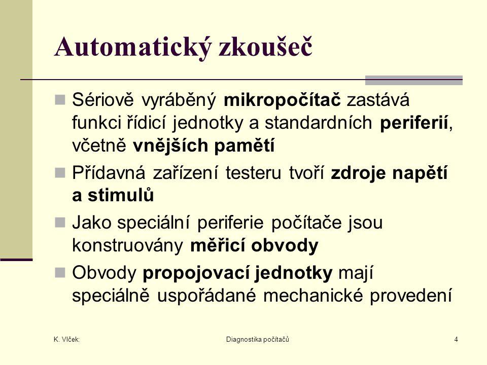 K. Vlček: Diagnostika počítačů4 Automatický zkoušeč Sériově vyráběný mikropočítač zastává funkci řídicí jednotky a standardních periferií, včetně vněj