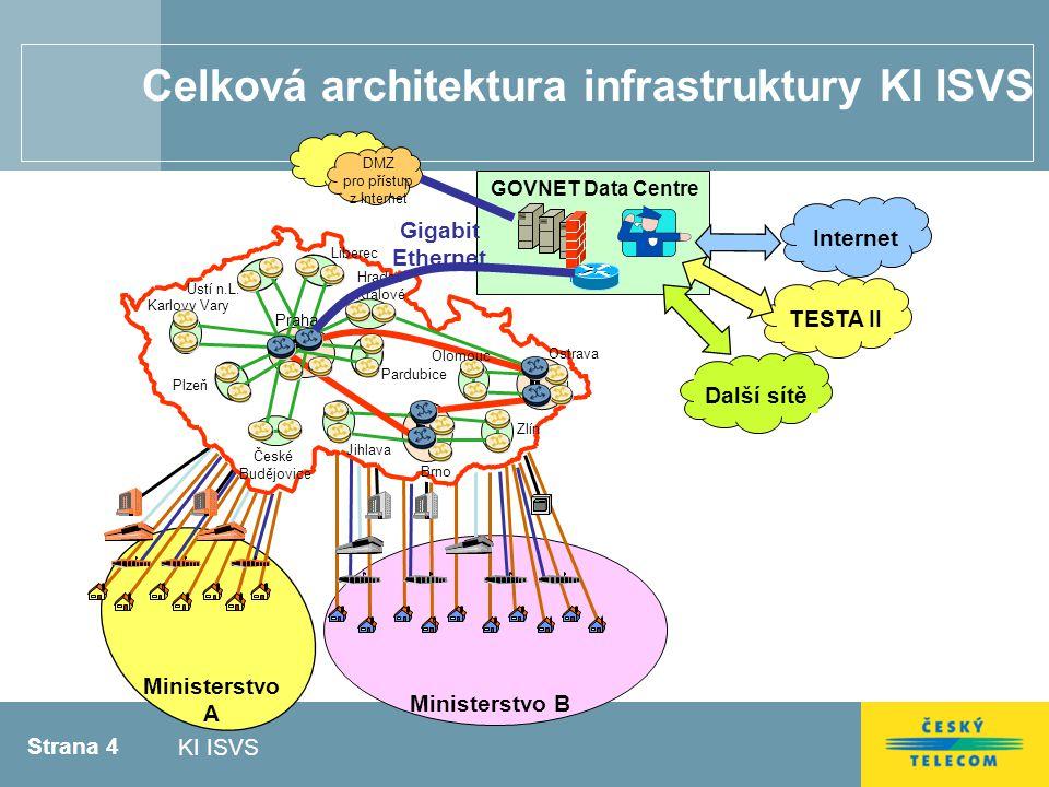 Strana 4 KI ISVS Celková architektura infrastruktury KI ISVS Ministerstvo A Ministerstvo B Plzeň Brno Jihlava České Budějovice Hradec Králové Ústí n.L.