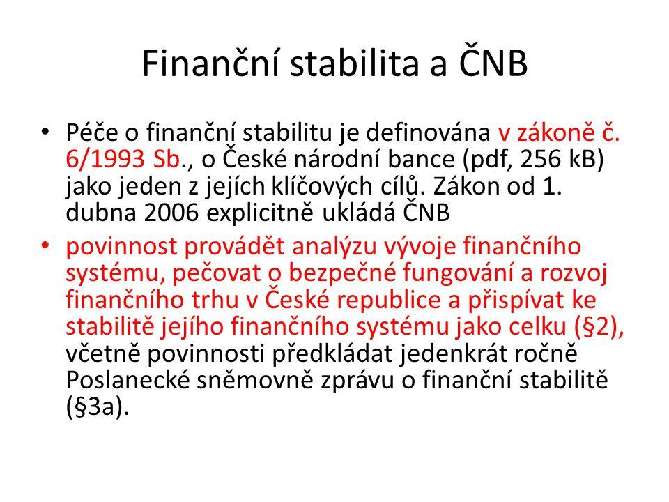 Finanční stabilita a ČNB Péče o finanční stabilitu je definována v zákoně č. 6/1993 Sb., o České národní bance (pdf, 256 kB) jako jeden z jejích klíčo