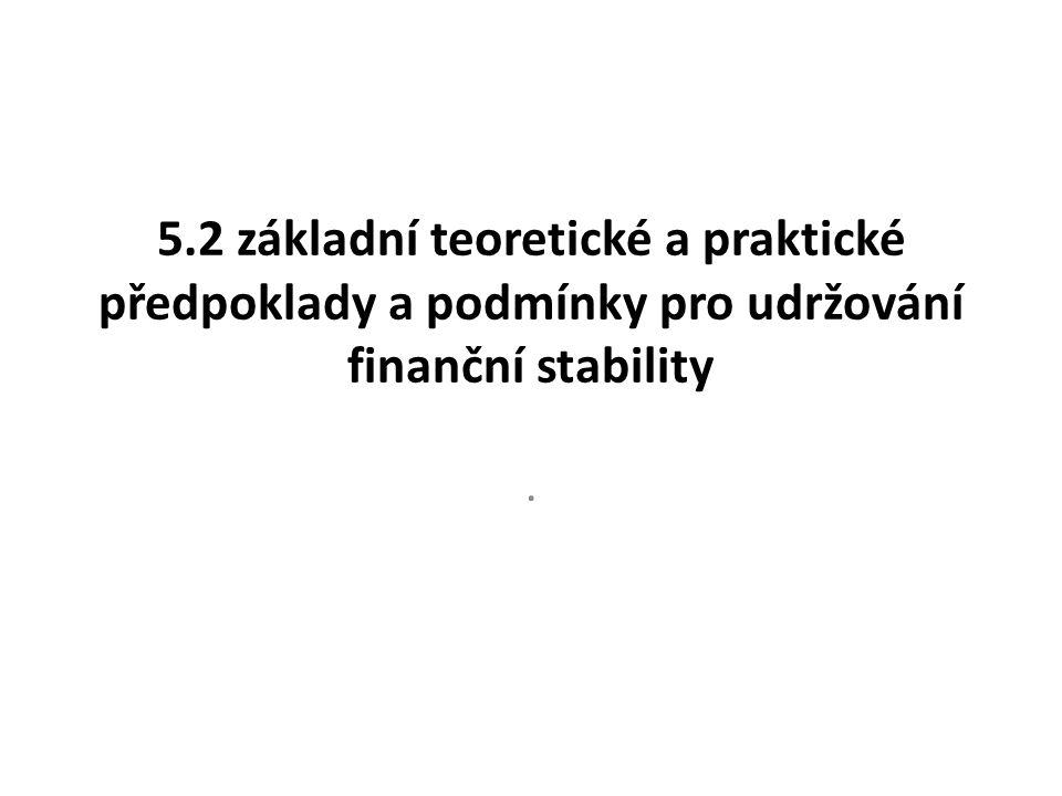 5.2 základní teoretické a praktické předpoklady a podmínky pro udržování finanční stability.