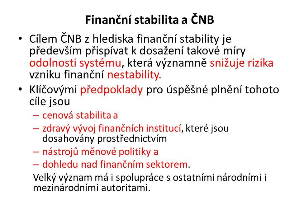 Finanční stabilita a ČNB Cílem ČNB z hlediska finanční stability je především přispívat k dosažení takové míry odolnosti systému, která významně snižuje rizika vzniku finanční nestability.