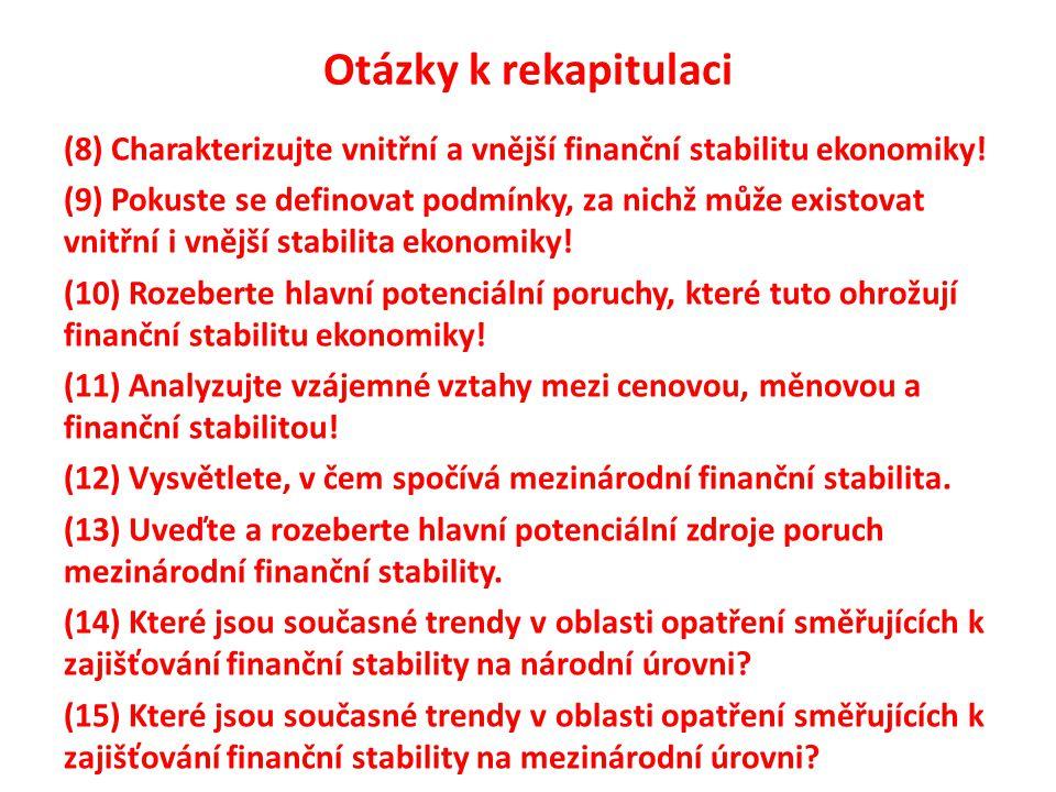 Otázky k rekapitulaci (8) Charakterizujte vnitřní a vnější finanční stabilitu ekonomiky! (9) Pokuste se definovat podmínky, za nichž může existovat vn