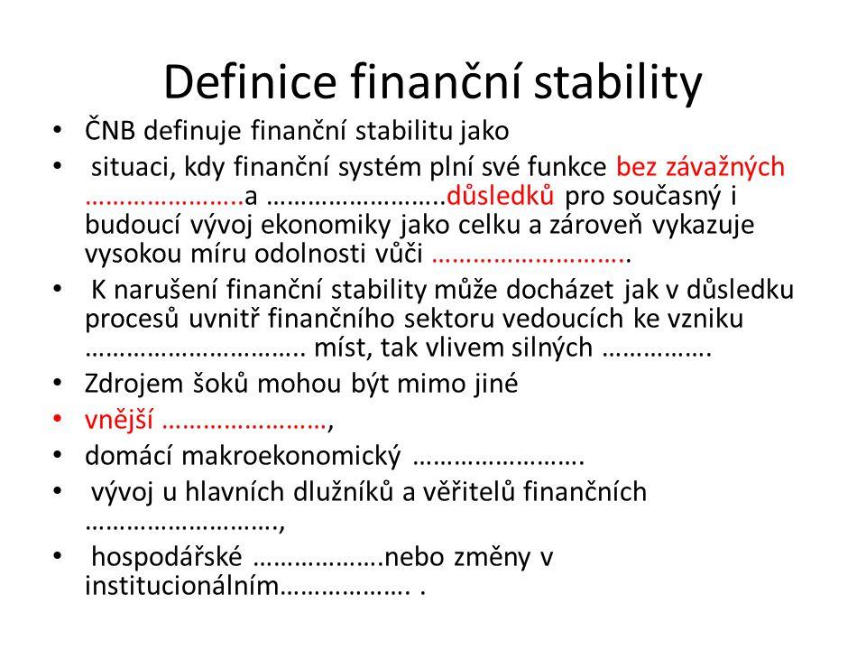Definice finanční stability ČNB definuje finanční stabilitu jako situaci, kdy finanční systém plní své funkce bez závažných …………………..a ……………………..důsledků pro současný i budoucí vývoj ekonomiky jako celku a zároveň vykazuje vysokou míru odolnosti vůči ………………………..