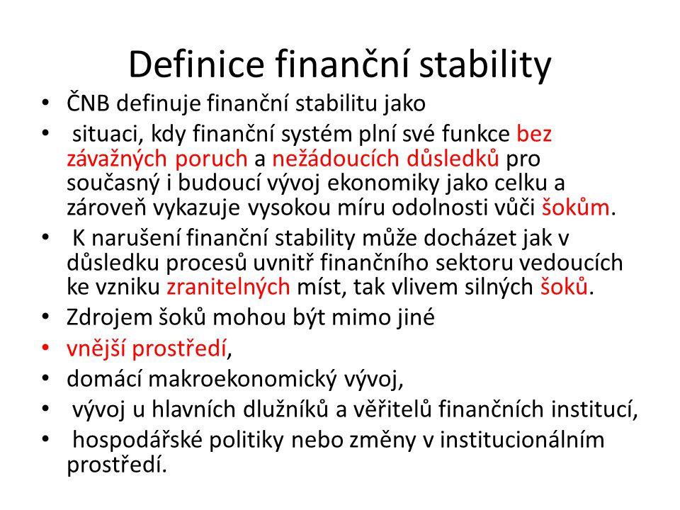 Definice finanční stability ČNB definuje finanční stabilitu jako situaci, kdy finanční systém plní své funkce bez závažných poruch a nežádoucích důsledků pro současný i budoucí vývoj ekonomiky jako celku a zároveň vykazuje vysokou míru odolnosti vůči šokům.