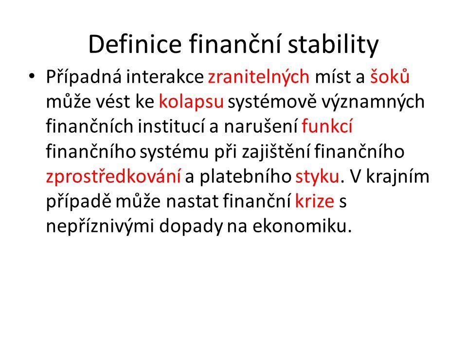 Definice finanční stability Případná interakce zranitelných míst a šoků může vést ke kolapsu systémově významných finančních institucí a narušení funkcí finančního systému při zajištění finančního zprostředkování a platebního styku.