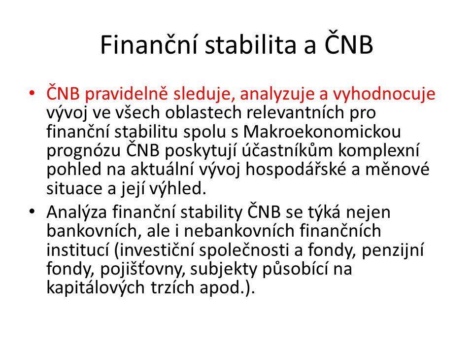 Finanční stabilita a ČNB ČNB pravidelně sleduje, analyzuje a vyhodnocuje vývoj ve všech oblastech relevantních pro finanční stabilitu spolu s Makroekonomickou prognózu ČNB poskytují účastníkům komplexní pohled na aktuální vývoj hospodářské a měnové situace a její výhled.