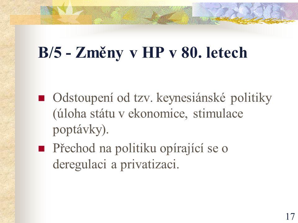 17 B/5 - Změny v HP v 80. letech Odstoupení od tzv.