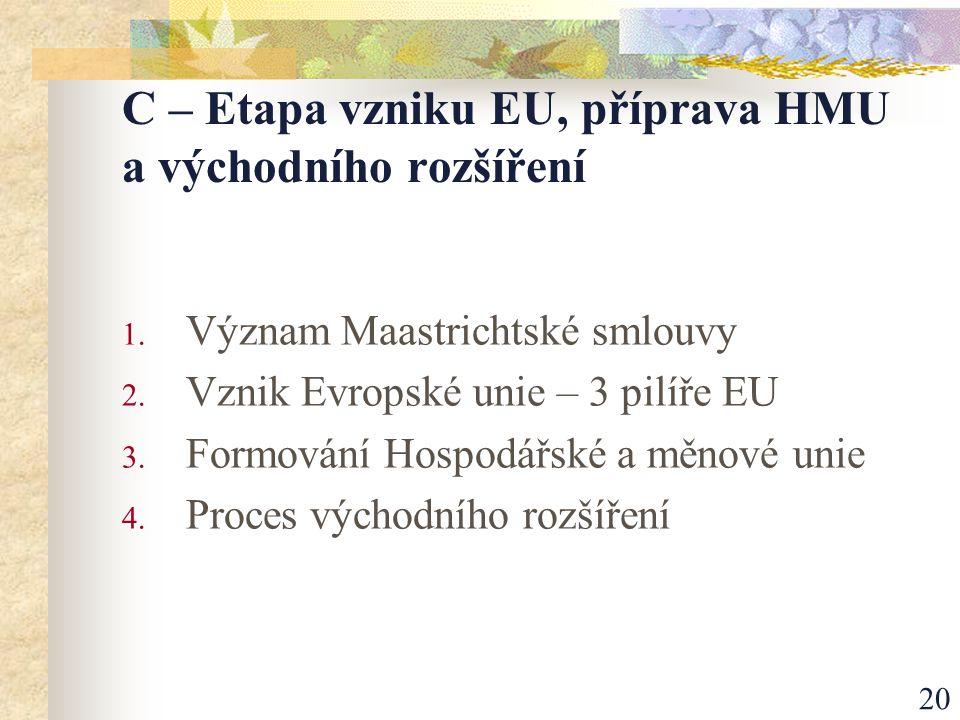 20 C – Etapa vzniku EU, příprava HMU a východního rozšíření 1.
