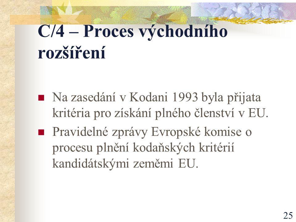 25 C/4 – Proces východního rozšíření Na zasedání v Kodani 1993 byla přijata kritéria pro získání plného členství v EU.