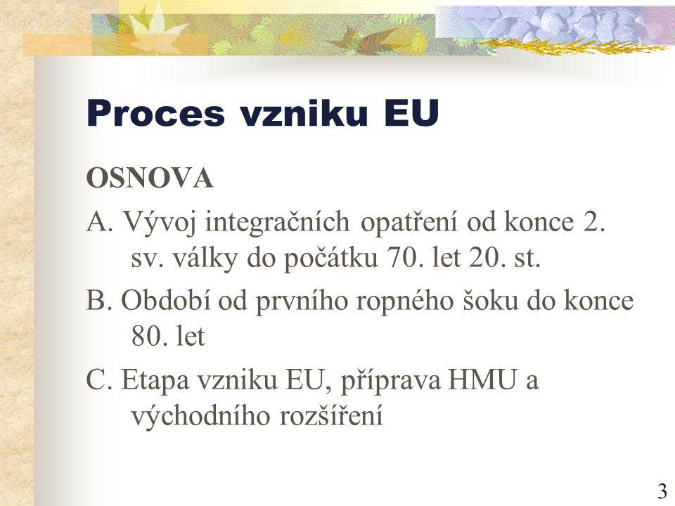 3 Proces vzniku EU OSNOVA A. Vývoj integračních opatření od konce 2.