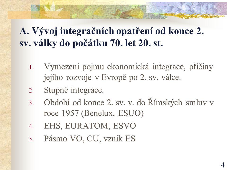 5 A/1 - Vymezení pojmu EI … Vytváření těsnějších vazeb mezi jednotlivými částmi světové ekonomiky.
