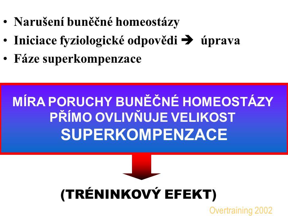 Narušení buněčné homeostázy Iniciace fyziologické odpovědi  úprava Fáze superkompenzace MÍRA PORUCHY BUNĚČNÉ HOMEOSTÁZY PŘÍMO OVLIVŇUJE VELIKOST SUPERKOMPENZACE (TRÉNINKOVÝ EFEKT) Overtraining 2002